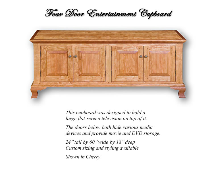 Four Door Entertainment Cupboard - Designed to hold a flat-screen television on top. The doors below hide media devices and provide movie and DVD storage. Shown in Cherry.