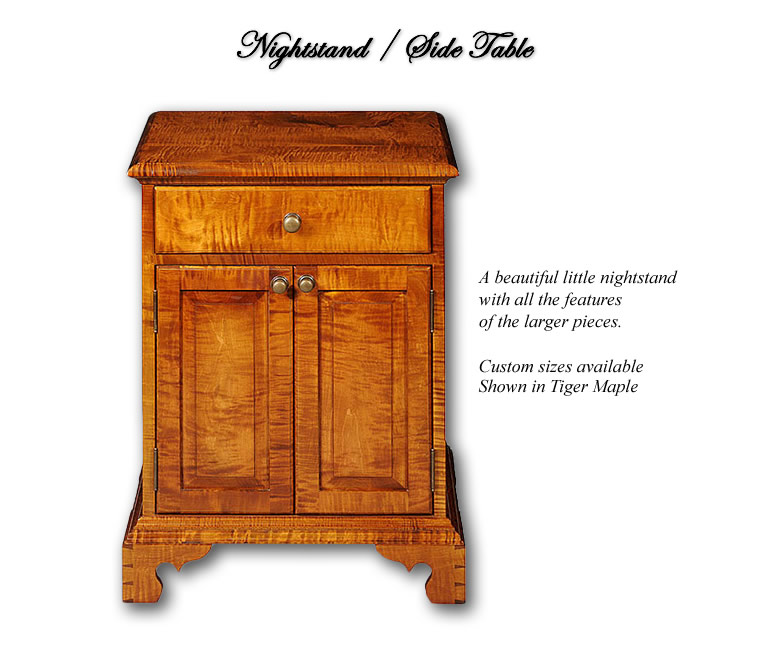 Nightstand / Side Table - A beautiful little nightstand with all the quality features of the larger pieces. Custom Sizes - shown in Tiger Maple