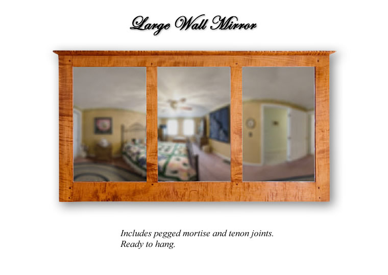 Large Wall Mirror ~ Includes pegged mortise and tenon joints. Ready to hang.