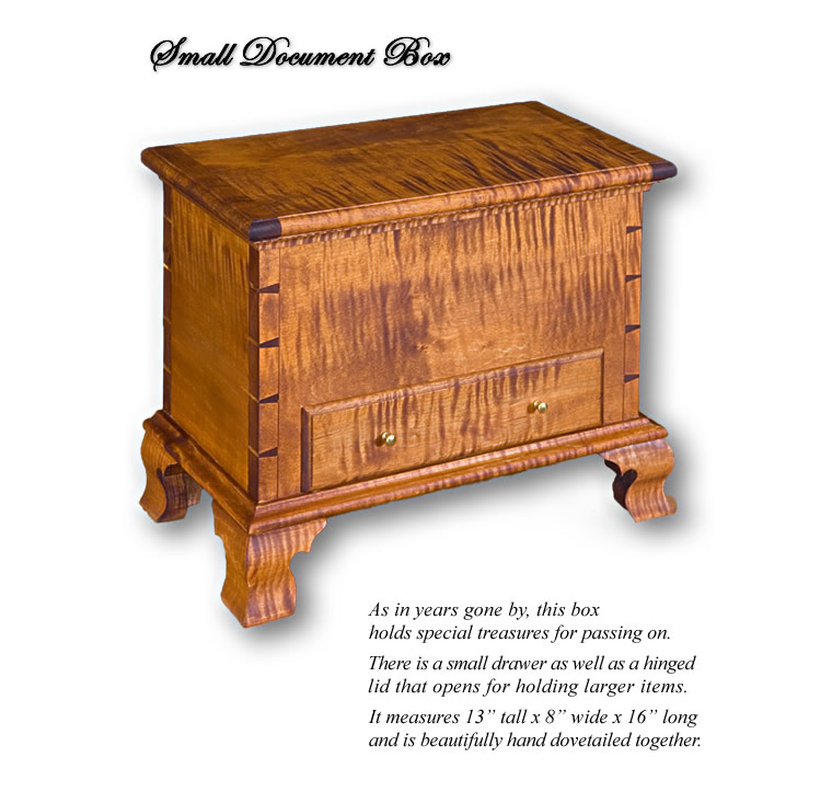 Small Document Box ~ Includes a small drawer as well as a hinged lid that opens for larger items. Beautifully hand dovetailed together.